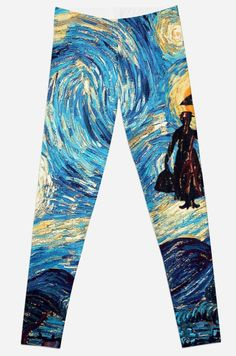 The Flying Lady with an Umbrella Oil Painting Leggings #Leggings #clothing #sport  #marrypoppins #Umbrella #painting #starrynight #art #flyinglady #woman #flying