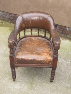 Antique Victorian Mahogany Leather Upholstered Club / Library Chair in Distressed condition Circa 1880 by Stall27TheRegent on Etsy