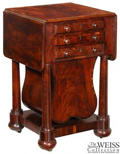 A Crossbanded and Figured Mahogany Classical 3-drawer Worktable with Rare Lyre basket, Boston, c.1825 | StanleyWeiss.com