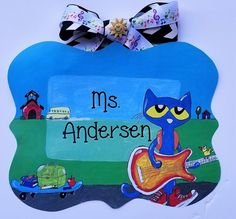 Approximately wooden teacher sign. Original design transferred by decoupage onto wood with glossy sealer. Ribbons may vary. Please add teacher name to notes section of order. Big Wall Letters, Painting Wooden Letters, Book Letters, Painted Letters, Classroom Signs, Art Classroom, Classroom Themes, Teacher Name