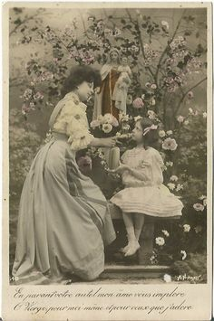 A beautiful Vintage French Postcard Depicting a mother's Love.  Lovely Garden scene in sepia and hand tip coloring.  #ButterflysPin