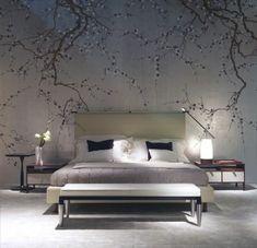 chambre à coucher zen, tapisserie murale à motifs cerisier fleuri