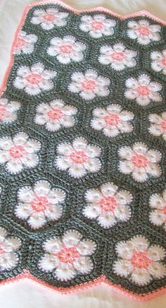 nice African Flower Hexagon Baby Blanket Gray Grey Pink White Crochet READY TO S., blanket patterns granny square grey nice African Flower Hexagon Baby Blanket Gray Grey Pink White Crochet READY TO S. Baby Girl Crochet Blanket, Crochet Blanket Patterns, Crochet Stitches, Crochet Blankets, Crochet Blanket Flower, Crocheted Baby Blankets, Hexagon Crochet Pattern, Crochet Bedspread, Afghan Patterns