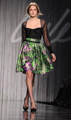 Black & green dress with flowers Enrico Coveri / czarno zielona sukienka z motywem kwiatów