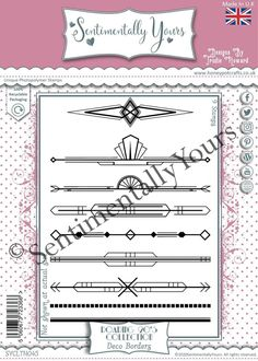 Trudie Howard Sentimentally Yours A5 Stamp Set -  Roaring 20's : Deco Borders Roaring 20s, Stamp, Deco, Roaring Twenties, Stamps, Decor, Deko, Decorating, Decoration