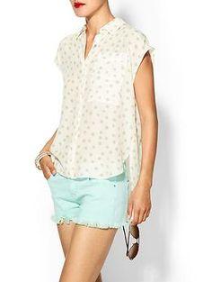 Rebecca Taylor Short Sleeve Dot Shirt   Piperlime