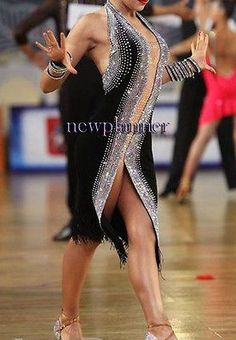 Women Ballroom Latin Rumba Salsa Smooth Dance Dress US 8 UK 10 Flesh Black