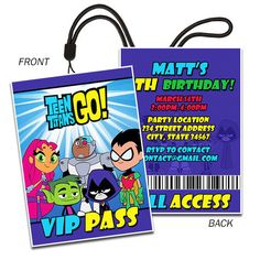 Teen Titans Go, Cyborg, Beast Boy, Robin,  Inspired, landyard birthday invitation, VIP pass invitation, diy, printable