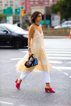Leandra Medine -- dress over pants. Best Street Style, Street Style Outfits, Nyfw Street Style, Looks Street Style, Street Style Summer, Cool Street Fashion, Love Fashion, Fashion Looks, Fashion Outfits
