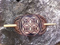 Sacred geometry hand carved leather hair barrette  tooled
