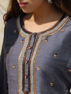 Blueberry Silk Dupion Embellished Kurta Neck Designs For Suits, Neckline Designs, Dress Neck Designs, Blouse Designs, Kurti Embroidery Design, Hand Embroidery Dress, Embroidery Fashion, Embroidery Patterns, Modele Hijab