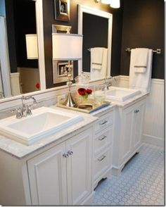 Dream Master Bathroom Inspiration!  drawers or cabinet below counter between sinks-finding extra storage