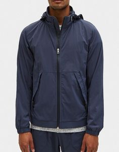Reigning Champ Stow Away Hood Jacket Stretch Nylon in Steel
