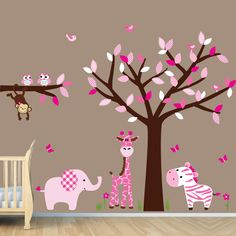 Repositionable Girls Room Nursery Jungle Wall Decals, Monkey Decal, Giraffe, Elephant, Zebra Tree with Branch, Stickers (Jungle Pink). $89.99, via Etsy.