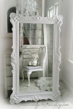 "H O L L Y W O O D Vintage Leaning Mirror Floor Mirror Regency Shabby Chic Baroque. You can create this look with Vintro Chalk Paint in ""pearl""."