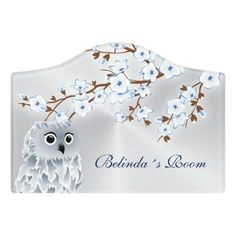 $14.39 | Cherry Blossoms Owl Blue Silver #cherryblossoms #sakura #japan #modern #silver #blue #owl #adorable #cuteanimal #customization Kids Door Signs, Foam Adhesive, Dry Erase Board, Room Signs, Acrylic Material, Make Your Mark, Blue And Silver, Different Styles, Owl
