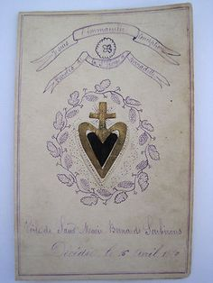 Incredibly Rare & Original, Antique French Handmade Holy Card with Relic of the Veil of St. Bernadette Soubirous.  Hand written note on the inside and on the rear.  Amazing