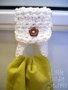 crochet towel holder...turn any towel into a hanging towel!  Great idea!