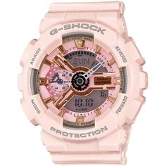 G-Shock Women's Analog-Digital Light Pink Bracelet Watch 49x46mm... ($130) ❤ liked on Polyvore featuring jewelry, watches, no color, ana-digi watches, watch bracelet, analog digital watches, bracelet watch and g shock watches