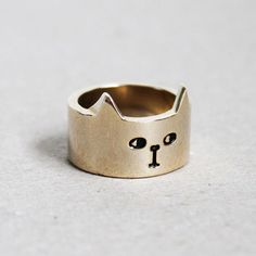 Gold Cat Ring from Lazy Oaf