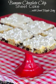 Banana Chocolate Chip Sheet Cake: 1 box yellow cake mix, 1 large egg, 1 stick/1/2 cup unsalted butter, softened 3 large over ripe bananas (mashed),1 1/2 cups semi-sweet chocolate chips, 6 cups powdered sugar, 1/2 cup heavy cream, 1/4 cup pure maple syrup 1/4 cup white sprinkles. Can do with pumpkin instead of banana.