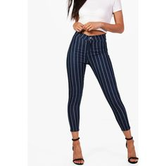 Boohoo Petite Libby Stretch Stripe Tube Jean ($25) ❤ liked on Polyvore featuring jeans, white stretchy jeans, super stretch jeans, white jeans, boohoo jeans and petite jeans