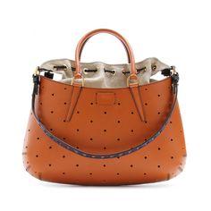 Orange Fendi  Perforated Leather B.Fab Bag
