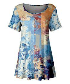 26a684f00420 Lily Blue   Beige Floral Scoop Neck Tunic - Women   Plus
