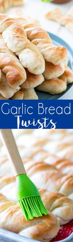 Garlic Bread Twists: Easy to make garlic bread twists, this easy dough is made in the mixer and is done in under an hour.  Breadsticks are buttery and garlicky. via @Rachael Yerkes