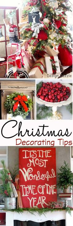 Christmas Home Tour: It's the Most Wonderful Time of The Year. Sharing inexpensive decorating tips for Christmas. Decorating and design by Toni Roberts - Design Dazzle! Love these Festive Holiday Decorations! Primitive Christmas, Christmas Time Is Here, Merry Little Christmas, Noel Christmas, Country Christmas, Winter Christmas, Christmas Hair, Christmas Crafts, Christmas Porch