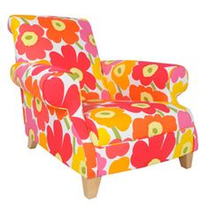I want this Marimekko armchair please, colourful flowers. Too expensive as a me-corner in my office?