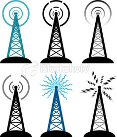 vector radio tower symbols Royalty Free Stock Vector Art Illustration