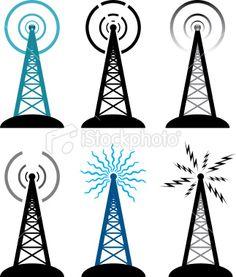 vector radio tower symbols Royalty Free Stock Vector Art Illustration