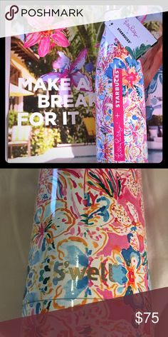 Lilly Pulitzer Starbucks Swell water Bottle NWT NWT, Rare Lilly Pulitzer + Starbucks S'well Bottle. Pattern is Resort Escape Floral. Each print was hand-painted by a Lilly artist. This print of bright exotic foliage transports you to happy in an instant. Composed of non-leaching, non-toxic, 18/8 stainless steel, 17 fl oz, double wall construction, keeps beverages cold for 24 hours and hot for 12 hours. Lilly Pulitzer Accessories