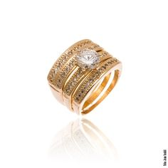 Trio de anéis com ponto de luz central folheados em ouro 18k - Francisca Joias
