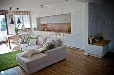 Urządzamy nowe mieszkanie: etapy i kolejność prac wykończeniowych Apartment Projects, Living Spaces, Living Room, Beautiful Kitchens, Contemporary Interior, Interior Design Kitchen, Home Kitchens, Sweet Home, House Design