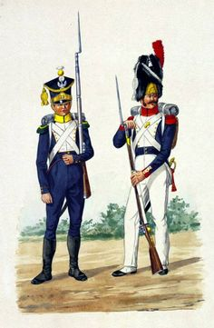 Voltigeur of the 10th Line Infantry Regiment, grenadier 17th Line Infantry Regiment 1812. Fig. E. Grammont.