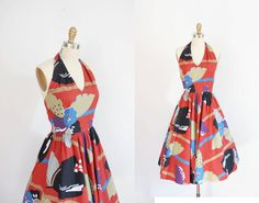 Cotton Halter Dress / 50s style / Floral by wildfellhallvintage, $68.00