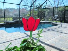 Tulip Stained Glass Plant/Garden Stake  by StainedGlassJewels