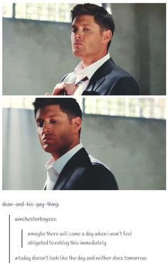 Dean taking off his tie<< Is it just me, or does he look like he's getting ready to 'punish' Cas...? ;D