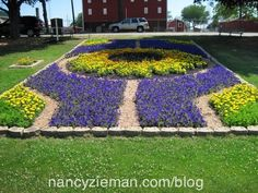 Nancy Zieman Sewing With Nancy Quilt Gardens along the Heritage Trail in Indiana ~ local 4-H Group is involved in the Quilt Gardens too ~ the Purdue Grand Champion Sunflower quilt garden at the Elkhart County 4-H Fairgrounds.