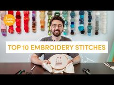 Master the top ten embroidery stitches - running stitch, french knots and lazy daisy stitch - we've got all the beginner's embroidery covered! Types Of Embroidery Stitches, French Knot Embroidery, Embroidery Stitches Tutorial, Simple Embroidery, Learn Embroidery, Embroidery For Beginners, Hand Embroidery Patterns, Sewing Stitches, Embroidery Supplies