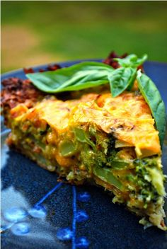 Broccoli and Cheese Tart with Potato Crust