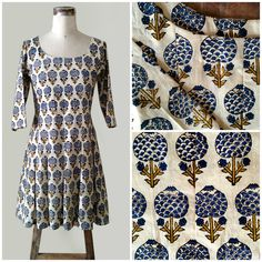 Hand Block Printed Pleated Cotton Dress In Off White Dresses Indian