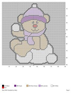 Bear With Snowball Plastic Canvas Christmas, Plastic Canvas Patterns, Snowball, Teddy Bears, Perler Beads, Cross Stitching, Needlepoint, Projects To Try, Craft Ideas