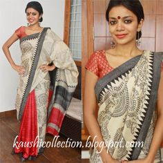 Dance along with the lovely people of lilliput(we are refering to the worli stick figures on the saree). Beige and Cream kosa silk sarees, red at the pleats!!