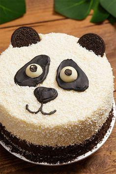 Penelope the Panda Panda Birthday Cake, First Birthday Cakes, Easy Cake Decorating, Cake Decorating Techniques, Dog Cakes, Cupcake Cakes, Bolo Panda, Panda Bear Cake, Panda Cupcakes