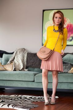 (Outfit Of The Yesterday) Snow Leopard + Blush Pink + Mustard Yellow + Chambray (& Ann Taylor's Liz Zipper Hair Calf Heels + J Crew's Pleated Lace Skirt) - t h e (c h l o e) c o n s p i r a c y : fashion + life + style