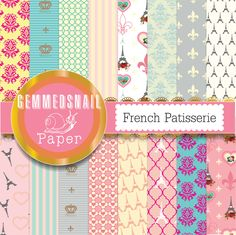 Paris digital paper, french digital paper 'french patisserie' paris backgrounds, france scrapbook paper x 16
