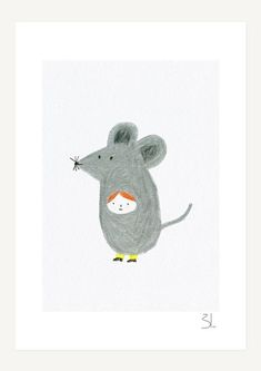 Little Mouse print This is a Glicée print, printed with pigment inks on 100 % cotton rag Fine Art, acid free, paper. --Small Print: The print measures x x including a white border for framing. Print without border measures about x x cm) Maus Illustration, Character Illustration, Print Layout, Kids Prints, Aesthetic Art, Doodle Art, Cute Art, Character Design, Drawings